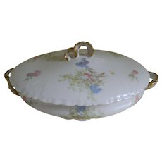 Antique Jean Pouyat Limoges France Covered Serving Bowl