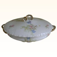 Antique Jean Pouyat Limoges France Covered Serving Bowl