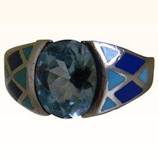 Vintage Kabana Enamel Design Sterling Topaz Ring