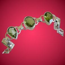 Peridot Birthstone Sterling Silver Vintage Bracelet