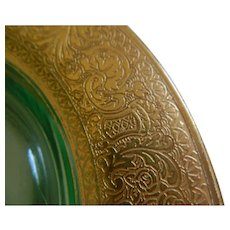 Gold Encrusted Clear Glass Plates, Set of 7