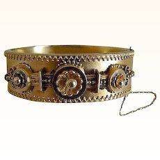 1880 Victorian Etruscan Revival Style Hinged Gold Filled Bangle Bracelet