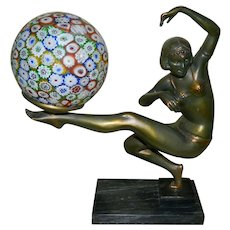 Collection Francaise Figural Lamp with Murano Glass Millefiori Globe