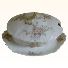 GDA Limoges Small Oval Sauce Bowl with Attached Under Plate and Cover