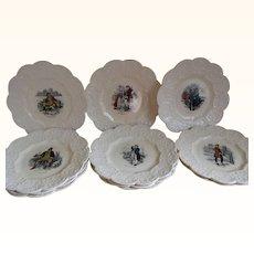 Antique Coalport Kings Ware Dickens Plates, Set of 11