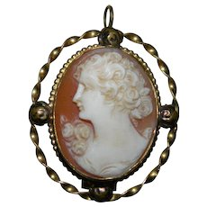 Gold Filled Cameo Pendant and Brooch, World War II Era