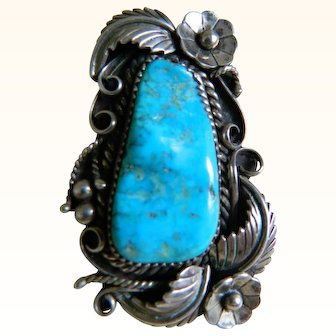 Vintage Native American Custom Made Sterling Silver Ring with Turquoise, Signed