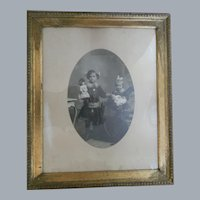 Girls with Dolls Antique Framed Photographic Portrait