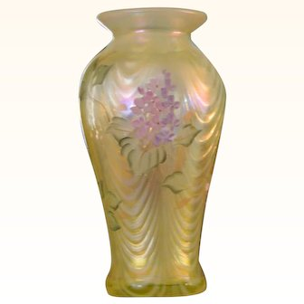 Vintage Hand Painted Signed Fenton Art Glass Vase
