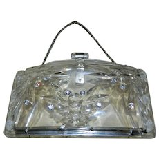 Vintage Lucite Clear Purse with Rhinestones.