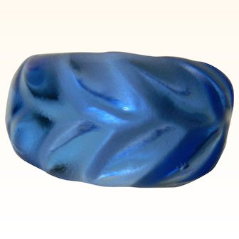 Lalique Sapphire Blue Crystal Ring, Signed Lalique France