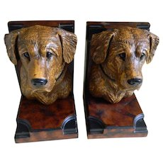 Vintage Golden Labrador Bookends