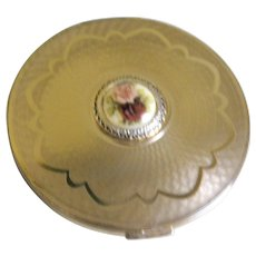Vintage Stratton, England Gold Tone with Guilloche Enamel Center Powder Compact