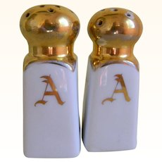 Early 1900's Hand Painted Bavarian Salt and Pepper Shakers with the Initial A