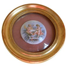 Vintage B & S Round Gilt Framed Porcelain Painted Cherubs