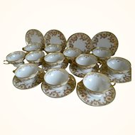 Haviland and Company, Limoges Bouillons and Saucers, Set 12 Cups, 10 Plates