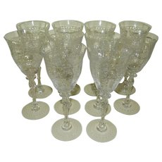 1920's Czech Cut Glass Wine Glasses, Set of 10