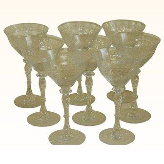 1920's Czech Cut Glass Champagne Glasses, set of 8