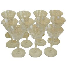 1920's Czech Cut Glass Cordial Liqueur Glasses, Set of 11