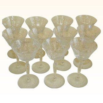 1920's Czech Cut Glass Cordial Liqueur Glasses, Set of 11