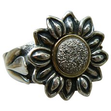 Vintage Sterling Silver with 14K Yellow Gold and Diamond Ring, Israel