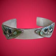 Unique Vintage Sterling Silver Bracelet With Cloisonne Design