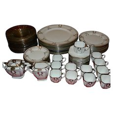 Rare  72 Piece Set American Belleek With Rockwell Sterling Silver Overlay