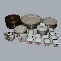 American Belleek With Sterling Silver Rockwell Overlay, 73 Piece Dinnerware Set