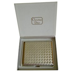 Vintage Christian Dior Checkered Powder Compact with Original Presentation Box