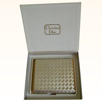 Vintage Christian Dior Checkered Powder Compact with Original Presentation Box