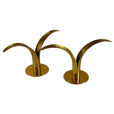 Pair of Mid- Century Swedish Brass Lily Candle Holders