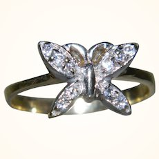 Vintage 14 K Yellow Gold Butterfly with Diamonds Ring