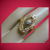 Vintage 14 k Yellow Gold Diamond Filigree Ring