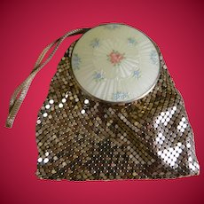 Evans Guilloche Enamel Mesh Powder and Rouge Compact purse