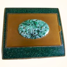 1930's Walter Lampl Enamel and Carved Jade Powder and Rouge Compact  and Cigarette Case.