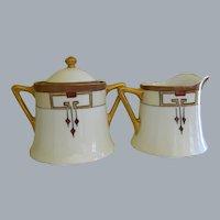 Arts and Crafts O&EG Royal Austria Creamer and Sugar Painted by Buchanan Studio, Indianapolis