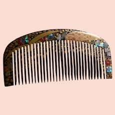 Woman's Asian Comb With Gold-colored Design  With Shell And Stone Inlay