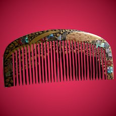 Woman's Comb With Gold-colored Design  With Shell And Stone Inlay