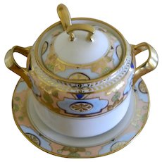 Antique Royal Crockery, Nippon Condiment Jar With Ladle