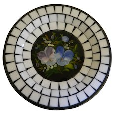D B Denmark Mosaic Tile with Floral Center Dish Mid-Century