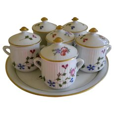 Louis Lourioux, La Faune, France Fire Proof Porcelain Pot De Creme Set