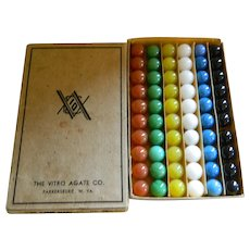 The Vitro Agate Co. 60 Game Marbles. No.  00 in Original Box