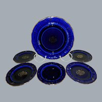 Vintage Rorstrand, Sweden Cobalt Blue Plates, Set of 6