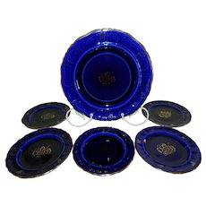 Vintage Rorstrand, Sweden Cobalt Blue Plates, Set of 6