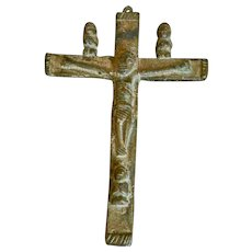 Antique Gilt Bronze Congo Crucifix