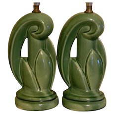 Mid Century Green Ceramic Pair of Table Lamps With Agave Plant Motif