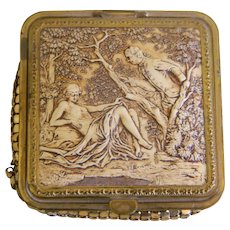 Vintage Gold Mesh Loose Powder Compact With Celluloid Raised Figural Scene