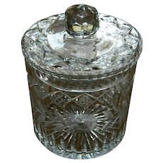 Twentieth Century Large Etched Glass Ice Bucket, Cookie Or Candy Jar