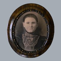 Antique Charcoal Portrait And Frame