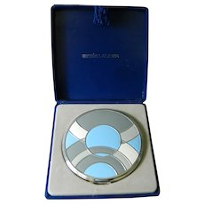 Vintage Art Deco Style Blue and Grey Enamel Estee Lauder Powder Compact in Original Presentation Box